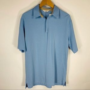 Turnbury Zip Polo Shirt Lt Blue Sz Medium